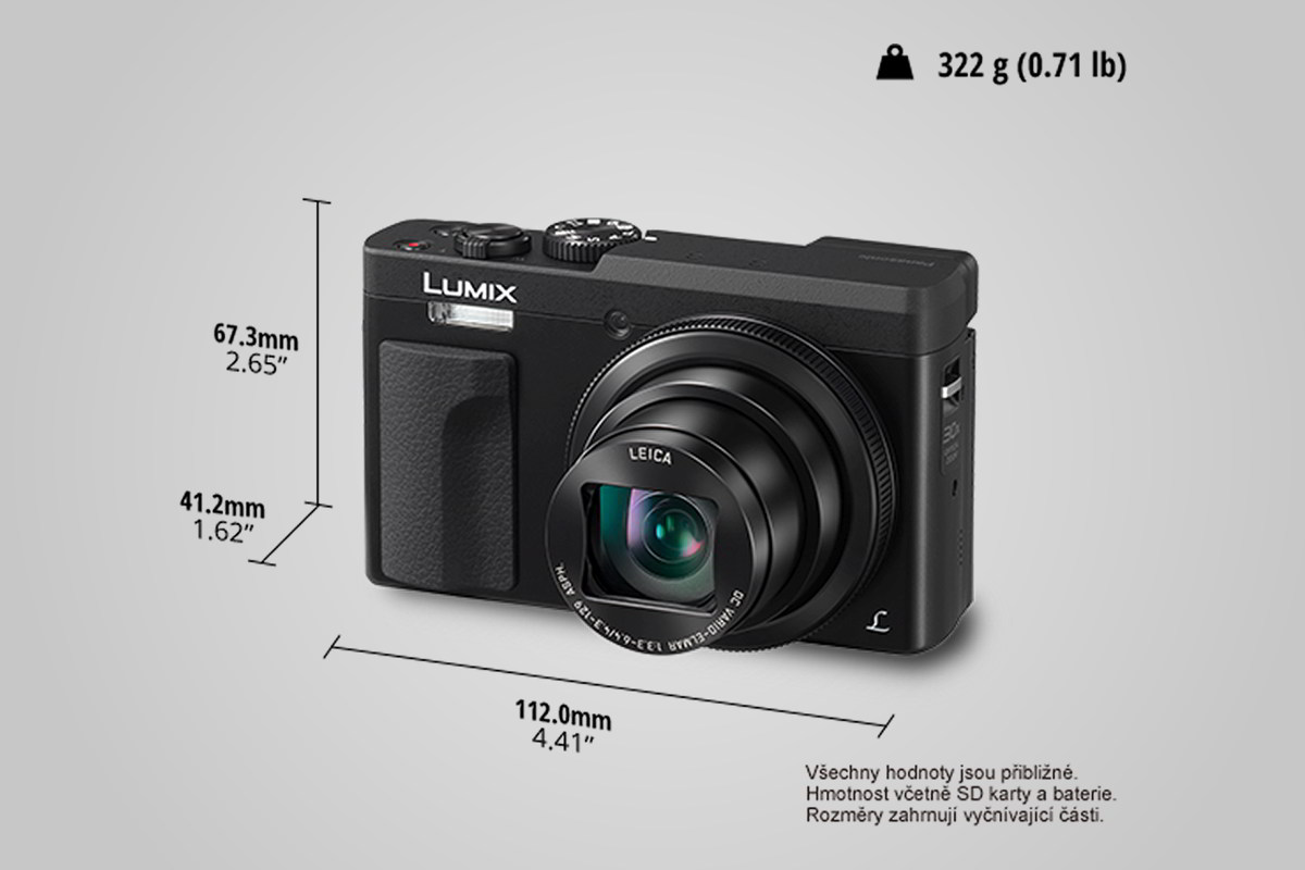 rozměry Panasonic Lumix DC-TZ90 / F22.cz